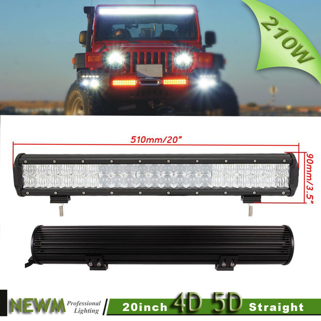 1pcs 5D Lens Car LED Light Bar 42x5W 210W 20 Work Light Led Bar 12v 24v Truck SUV ATV Combo Led Offroad Light Bar<br><br>Aliexpress