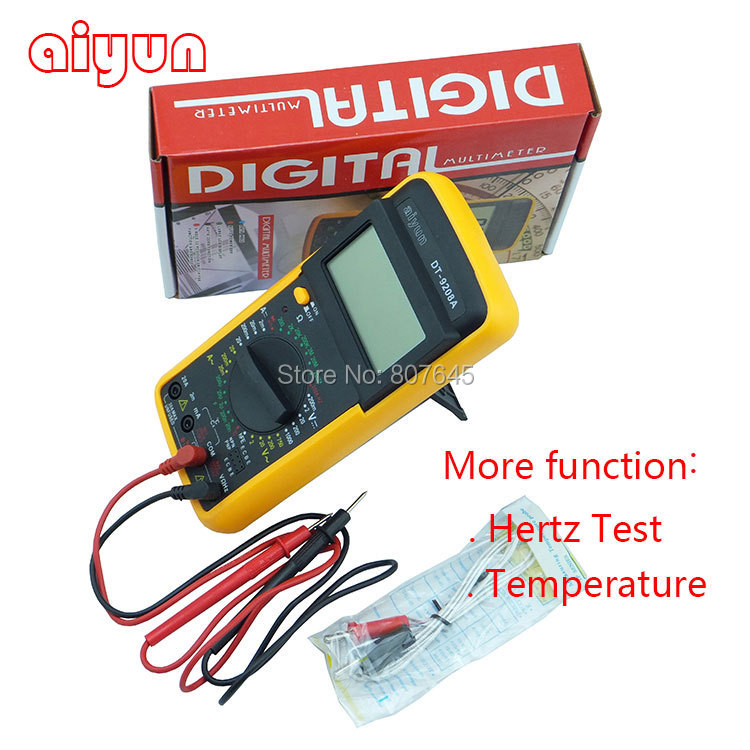 Digital Multimeter Volt Amp Ohm Hz AC/DC Tester 8Fuction DT9208A temperature, hertz test<br><br>Aliexpress