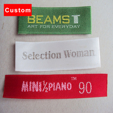 high quality custom clothing labels brand crochet machine white woven labels personalized satin care label for women's dress