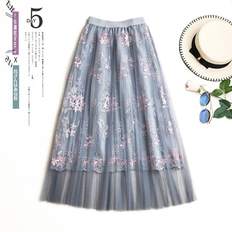 Vintage Skirts Womens Elastic Waist Korean Fashion Tulle Mesh Skirt Long Pleated Tutu Skirt Women Saias Midi Faldas Jupe femme
