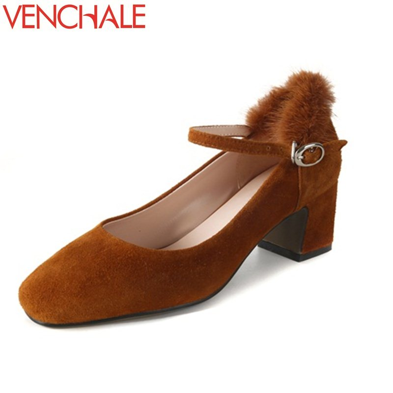 VENCHALE office lady noble mary janes buckle fur square toe grind arenaceous pumps spring med heels autumn high quality shoes<br>