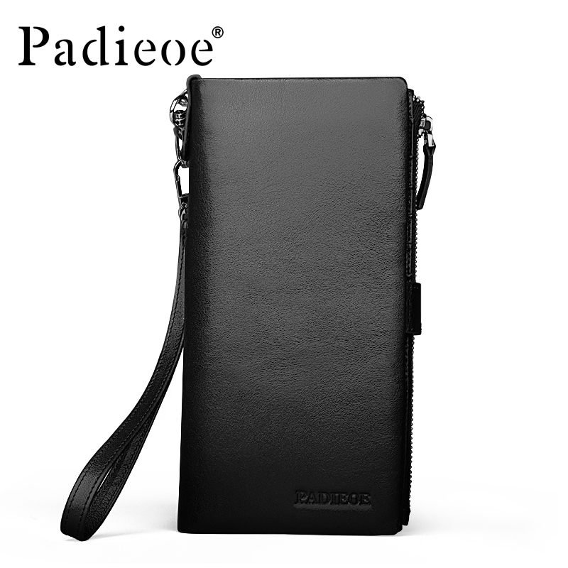 Padieoe Brand Men Clutch Genuine Leather Large Capacity Cowhide Zipper Purse Business Casual Mens Long Wallet Free Shipping<br>