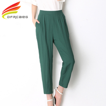 New Arrival 2017 Summer Cotton Linen Harem Pants Women High Waist Loose Nine Trousers Ladies Green Pink Grey Pantalon Femme