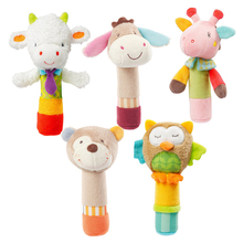 0-3 Year Baby Animal Stuffed Plush Rattles Doll Hand Bells Owl Bear BB Sound Educational Musical Kids Toys for Children Gifts(China)