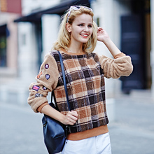 Veri Gude Plaid Sweatshirt Faux Lamb Fur Fleece Pullover