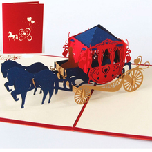 3D Pop Up Greeting Cards Wedding lnvitations Love Carriage Postcards Wishes Gifts Christmas Birthday Valentine Greeting Card
