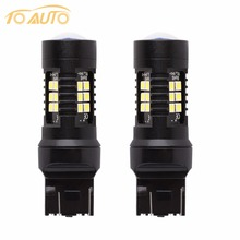2x T20 w21/5w 7443 auto led car lights white red yellow 21SMD t20 7440 w21w turn signal brake reverse parking light bulb(China)