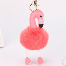 Fashion Women Bag Pink Flamingo Key Chain Ring Nice Purse Keychain Key Holder Charm Handbag Car Pendant Accessories Gift 6C0019