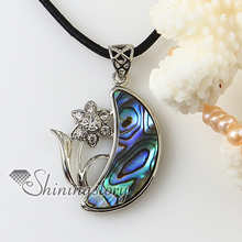 moon flower rainbow abalone oyster shell silver plated rhinestone necklaces pendants 2013 cheap fashion jewellery