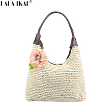 LALA IKAI 2017 Spring Summer Women Bags with Flower Casual Straw Shoulder Bag Ladies Tote Handbags Fashion Beach Bag BWA0465