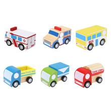 Wooden Mini Pull Back Vehicle Toy New Ambulance Truck Tank Lorry Bus Model Fun Wood Vehicle Toy