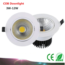 Buy 1PCS Dimmable LED Recessed Downlight Ceiling 3W 5W 7W 12W 85-265V COB LED DownLights COB Spot light Light Bulb for $3.18 in AliExpress store