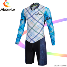 Malciklo Cycling Jumpsuit Long Sleeve bicycle clothes men Gentleman Classic lattice Elastic Fabric Bike Coverall