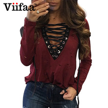 Viifaa Hole T Shirt Tops Women 2017 Ripped Sexy Lace Up Tees Shirt Deep V Neck Long Sleeve Black Casual T-Shirt
