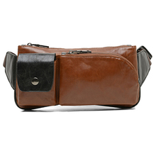 ETONWEAG 1x Camel men retro leisure PU leather Messenger sports bag / chest bag / pockets 28 * 13 * 3cm