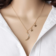 European and American foreign trade jewelry romantic couple metal moon star combination female chain necklace(China)