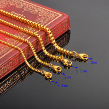 FUNIQUE Stylish Stainless Steel Box Chain Necklace For Men Women DIY Fine Jewelry Silver gold color Chain Necklace 50cm