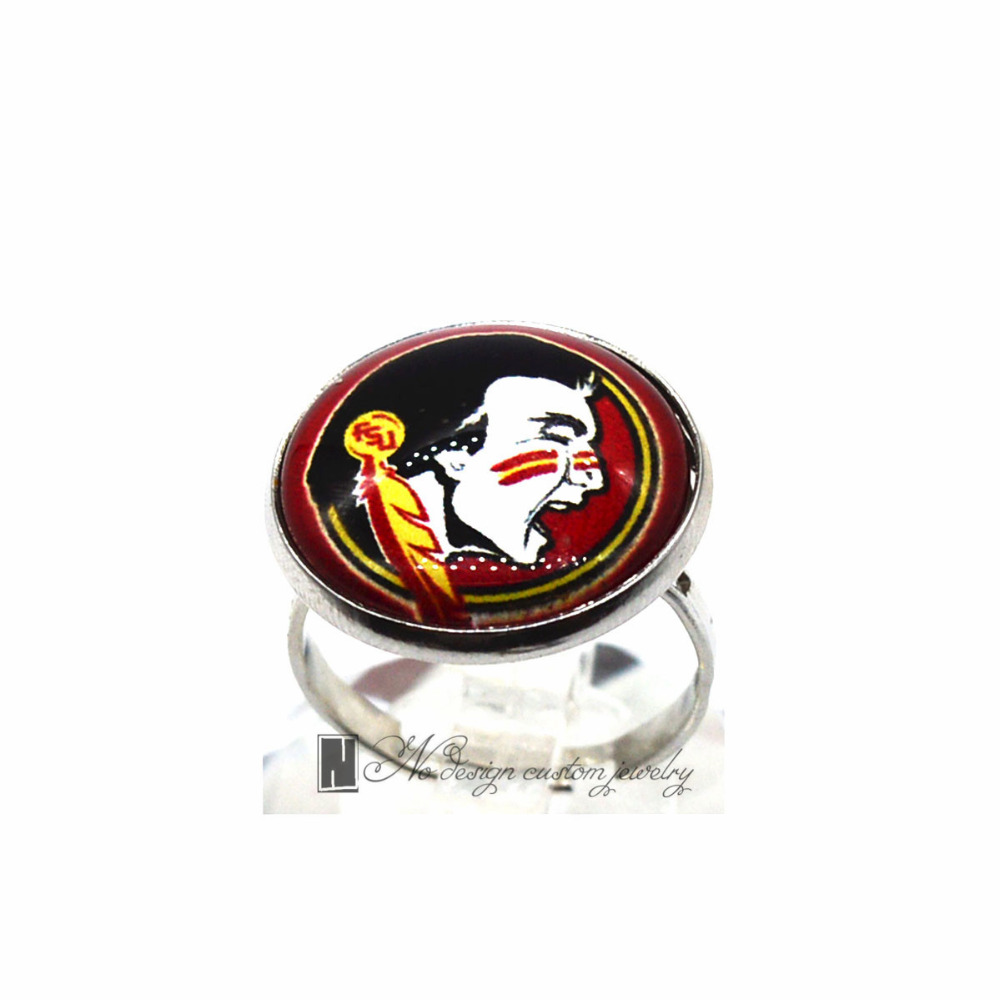 Ring Florida State University NCAA Seminole Charms Round Glass Dome Silver Plated Ring For Women Girl Adjustable GDR0119(China)