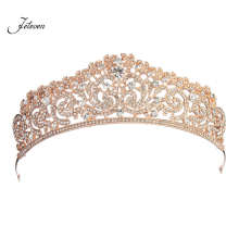 Romantic Rose Gold Hair Tiara Crown Austrian Rhinestone Crystal Bridal Wedding Party Hair Jewelry For Women Girls