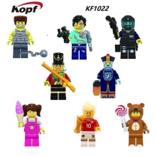 DHL KF1022 60Sets Multiclass Figures The Three Kingdoms Zombies Fun Serie Halloween Teddy Bear Animal Characters Toys Figures