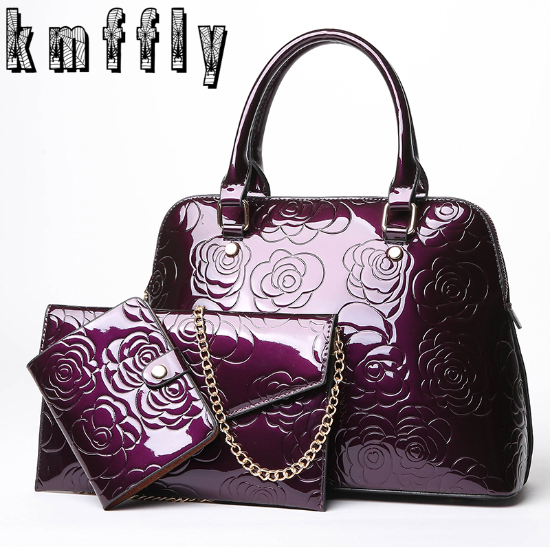 KMFFLY Brand 3 Pcs /Set Composite Bags Women Leather Handbags Famous Ladies Shoulder Bags Embossing Chinese Style Women Handbags<br>