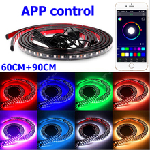 Bluetooth aux Phone APP Control Car Styling underbody Flexible RGB Strip Light Atmosphere Decorative Foot Lamp(China)