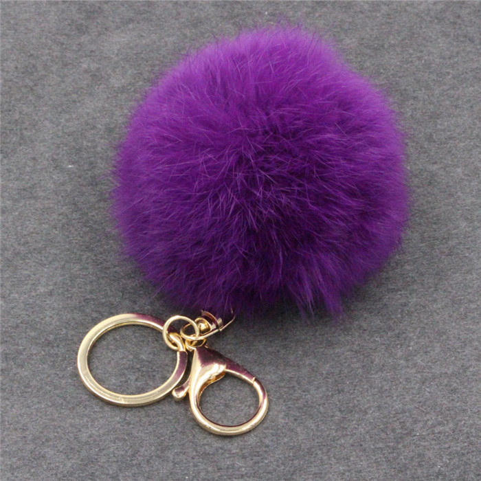 8CM Fluffy Pompom Real Rabbit Fur Ball Key Chain Women Trinket Pompon Hare Fur Toy keyring Bag Charms Ring Keychain Wedding Gift (24)