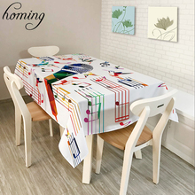 Homing New Hot Waterproof Decoration Wedding Party Coffee Table Cloth Colorful Music Notes Pattern Kitchen Oil-proof Table Cover