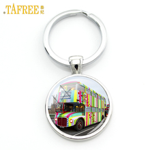 TAFREE 2017 new London Double Decker Bus key chain ring holder united kingdom travel art Peace hippie van bus car keychain H171
