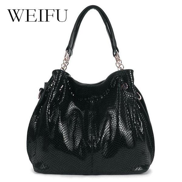 WEIFU brand women handbags Leather shoulder bag Ms snakeskin grain slanting across packages <br><br>Aliexpress