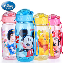 Disney 400ml Plastic Kids Water Bottle Juice Bottle Baby Cartoon Water Bottle Straw Bottles Travel kettle sports BPA Free