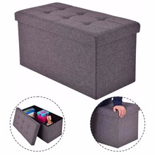 Goplus 76X38X38cm Storage Ottoman Modern Folding Rect Stool Box Footrest Living Room Furniture Pouffe Ottoman Bench HW53970(China)