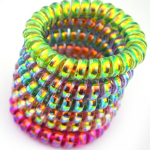 6Pcs/Lot 6Colors Colorful Telephone Line Elasticity Rubber Hair Accessory Women Headwears Elastic Hair Band(China)