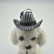 Cute strip dog hat Cap with Adjustable Chin String funny cowboy dog party Headwear costume Dog Grooming hair wedding accessories