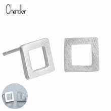 2017 New Hollow Square Table Post Stud Earrings Geometrical 925 Silver Sterling Jewelry Matte Finish Simple Homme pendientes