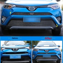 Cover Case Stickers for TOYOTA RAV4 2016 part accessories 2 PCS Car chromium Styling aluminum Racing Grille protection strip