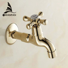 Bibcocks Faucet Golden Wall Mount Outdoor Garden Tap Laundry Washing Machine Small Taps Bathroom Mop Pool Cold Water Tap 8208(China)