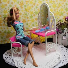Funny Creative Design Baby Girls Toys Dressing Table & Chair Accessories Set for Barbies Dolls Bedroom Furniture(China)