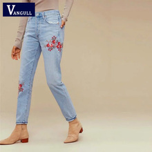 Flower embroideryVANGULL  jeans female Light blue casual pants capris 2016 autumn winter Pockets straight jeans women bottom
