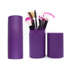 12 Pcs Eye Makeup Brush Set Eyeshadow Eyeliner Blending Pencil Makeup Brushes Rose Purple Handle Plastic Pot