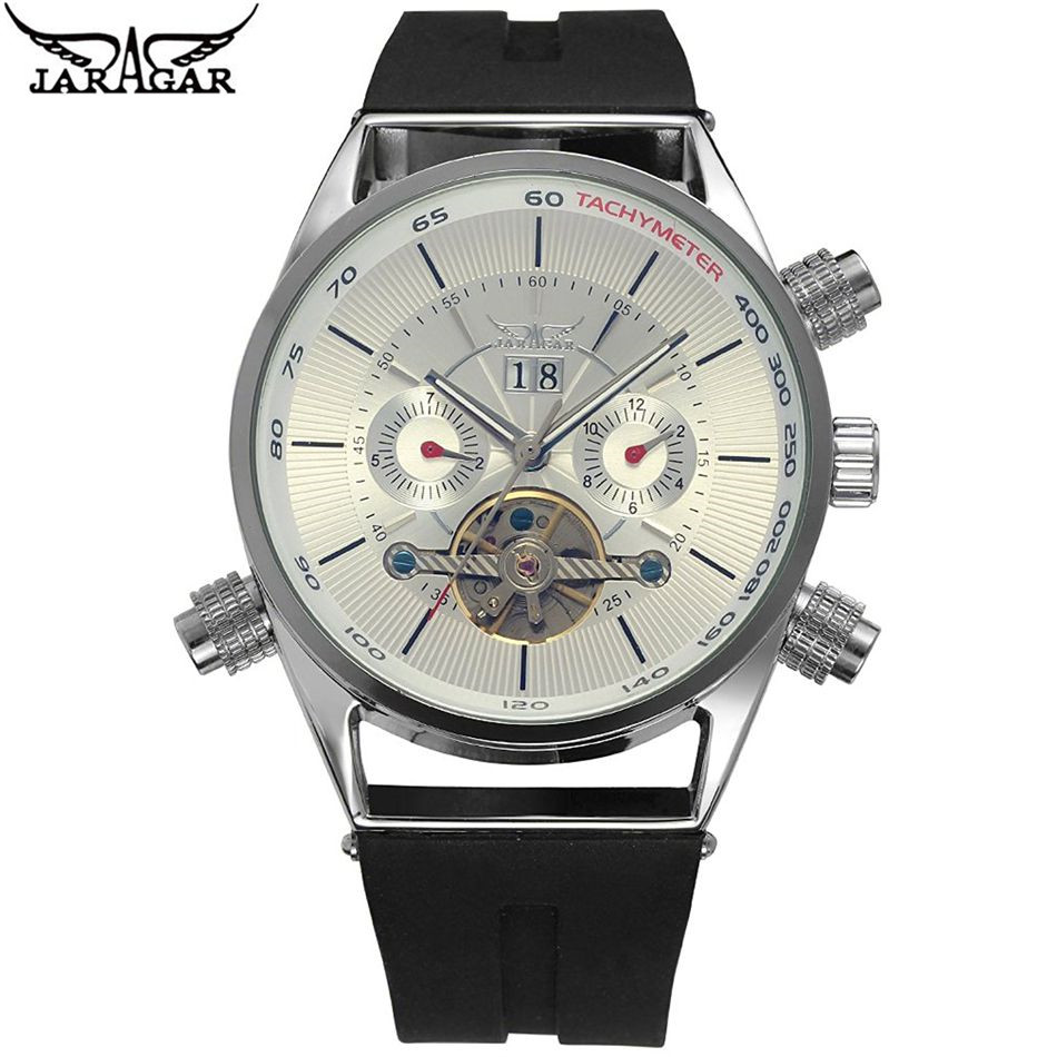New 2017 JARAGAR Casual MensTourbillion Day Automatic Mechanical Mens Watch Wristwatch  Gift Free Ship<br>