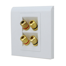 One Pcs Gold Plated 4 Binding Post Banana Plug Audio Jacks Wall Plate Panel Four Speakers Slot Interface 86mm x 86mm(China)