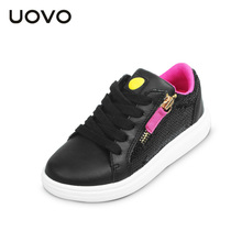UOVO 2017 casual girl shoes outdoor kids sport shoes Lace up Girls designer shoes Glitter footwears Children Casual Shoes