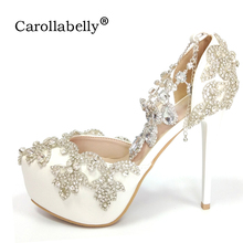 2017 Women High heels Prom Wedding Whoes Lady Crystal Platforms Silver Glitter Rhinestone Bridal Shoes Ankle Strap Party Pumps