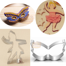 2pcs Ballet Dancer Face Mask patisserie Stainless Steel Cookie Cutter Moldes Metal Fondant Crafts Cake Decor Pastry Shop  Mould