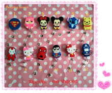 10pcs Cute Cartoon Heroes Retractable Badge Reel Pull ID Card Badge Holder Belt Clip Hospital School Office Favor(China)