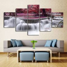 Large 5 Designs Waterfall Poster Canvas Pictures for Living Room 5 Panels Natural Waterfalls Wallpaper Landscape Wall Art(China)