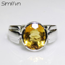Simffvn Vintage 8*10mm Oval  Cut Natural Yellow Citrine Aniversary Promise Ring Genuine 925 Sterling Silver Fine Jewelry