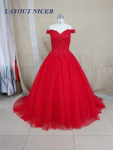 Vestido De Novia 2018 Romantic Red Formal Evening Dress robe de soiree Appliques Beaded Dress Tulle Bridal Gowns(China)