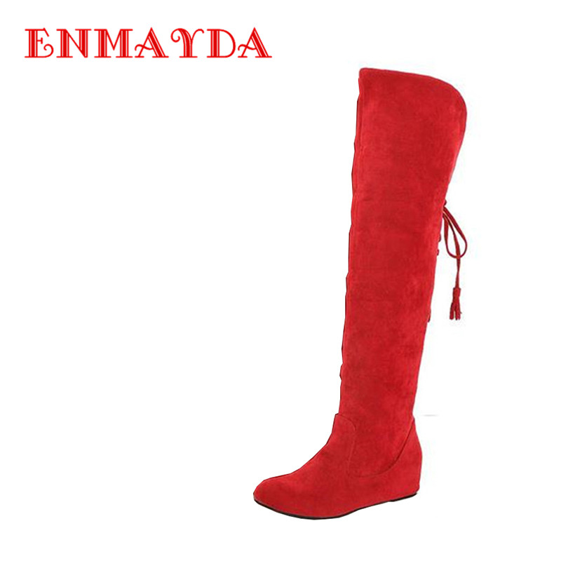 ENMAYDA New Women Fashion Knee-High Boots Women Winter Slip-on Snow Boots Round Toe Shoes Woman 3 Colors Sexy Red Flats Boots<br>